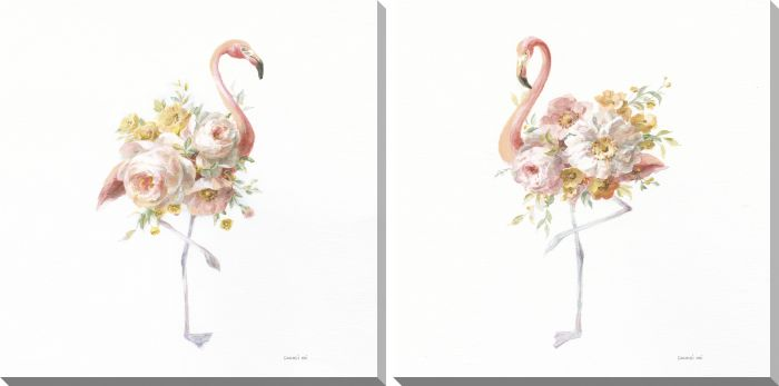 Floral Flamingos Set of 2