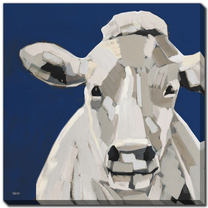 Neutral Cow on Blue