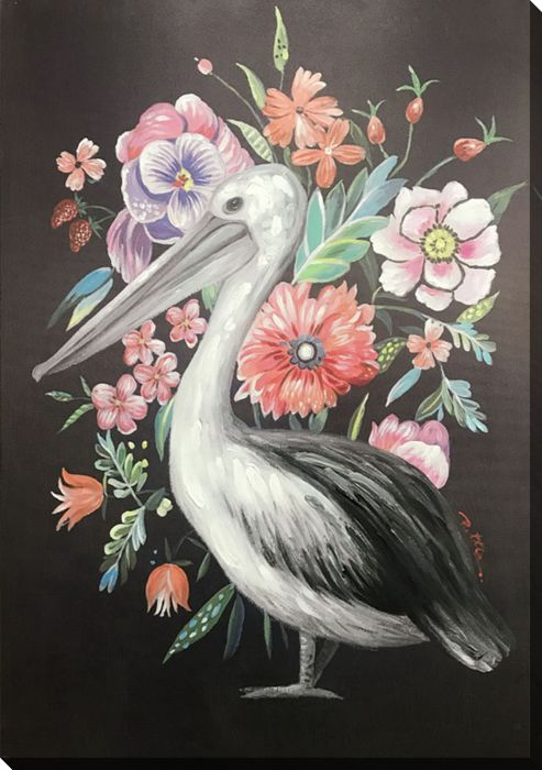 Floral Pelican On Black 2