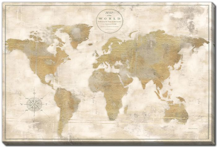 Rustic World Map Cream