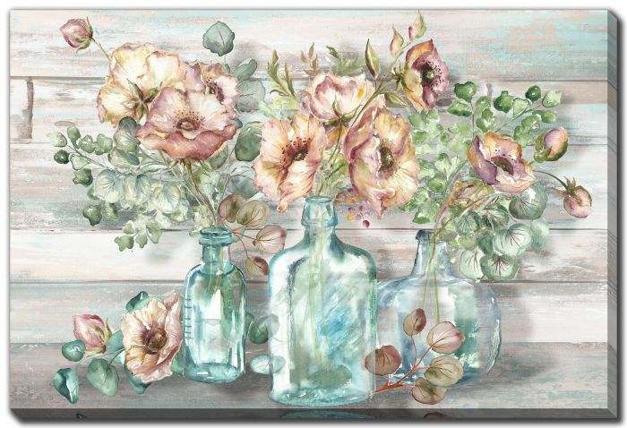 Blush Poppies and Eucalyptus in bottles landscape