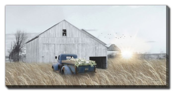 Navy Blue Truck with Flowers