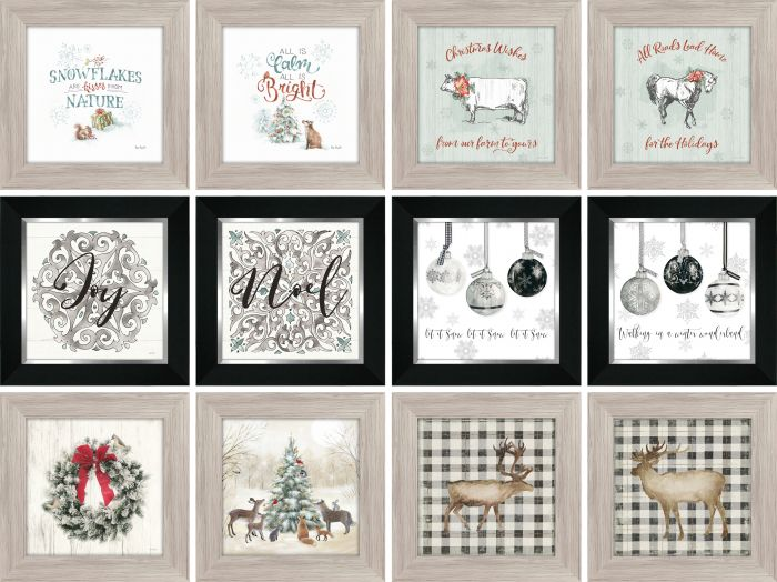 Framed Christmas Pictures 8x8 (12 Asst.) Modern